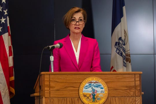 Iowa Gov. Kim Reynolds holds a news conference on COVID-19 at the State Emergency Operations Center in Johnston, IA, on Friday, April 3, 2020.