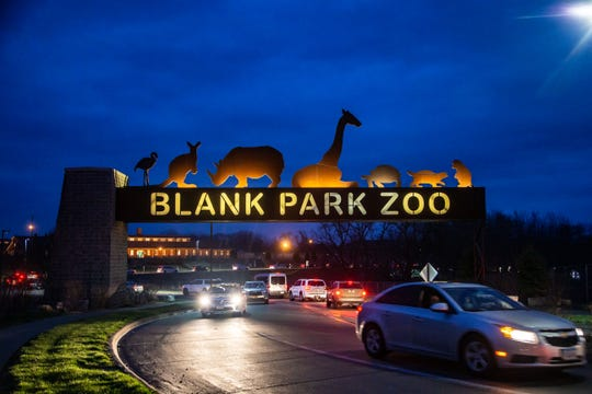 Thousands drive though the Blank Park Zoo parking lot to see lighted displays Thursday, April 2, 2020.