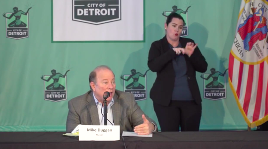 Detroit Mayor Mike Duggan speaks at a press conference on the coronavirus on Friday, April 3, 2020, at Eastern Market.