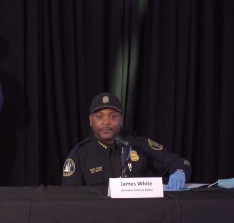 Detroit Assistant Police Chief James White speaks Friday, April 3, 2020, at a press conference on the coronavirus held at Eastern Market.