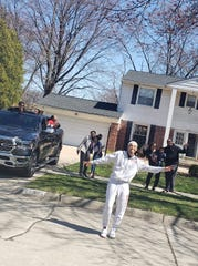 Cheyenne McEvans learned she is the Southfield High School for the Arts and Technology class of 2020 valedictorian with a caravan down her street with Southfield Police, friends and family members.