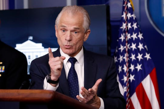 White House trade adviser Peter Navarro, who is now serving as national defense production act policy coordinator, speaks Thursday about the coronavirus in the James Brady Press Briefing Room of the White House. (AP Photo/Alex Brandon)