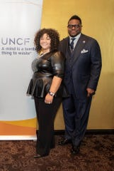 Patrice Neal, area development director for the United Negro College Fund, is pictured here with Bishop William Murphy III, the speaker at the 28th Annual MLK Brunch in January at the Greektown Casino Hotel in Detroit.
