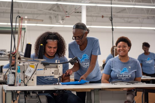 Jahlani Tavai visits the Empowerment Plan Plant on Tuesday, June 18, 2019 in Detroit