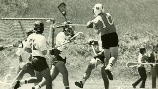 Corning native Jim Darcangelo (10) takes a shot during his playing career at Towson University. He was inducted into the National Lacrosse Hall of Fame in 1990.