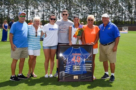 Jim Darcangelo (far right) at his daughter Samantha's University of Florida women's lacrosse family day. Also pictured, from left: Jim's in-laws Tony and Lee; daughter-in-law Tracie, son Jaret, Samantha and wife Marilyn.