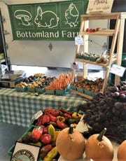 Bottomland Farms of Newark Valley displays some of its goods at the Broome County Regional Farmers' Market.