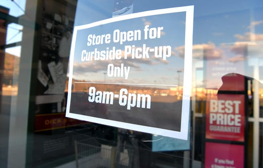 Dick's Sporting Goods in Big Flats offers curbside pick-up. Due to the  coronavirus, all non-essential retail businesses throughout New York remained closed. April 2, 2020.