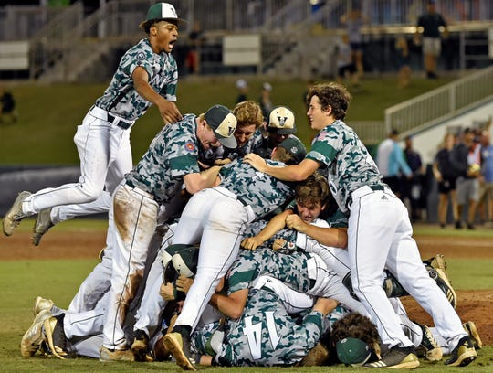 The Venice High baseball team storm the field and celebrate another state title by winning the FHSAA Class 7A state championship 3-2 over Doral Academy on June 1, 2019, at the CenturyLink Sports Complex's Hammond Stadium in Fort Myers. It was the Indians' second straight state title.