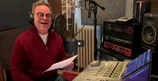 """Paul Libman premieres """"Home,"""" a song that was cut from Northern Sky Theater's """"Bing! the Cherry Musical"""" in this still shot from his contribution to the """"Northern Sky at Home"""" online video series."""