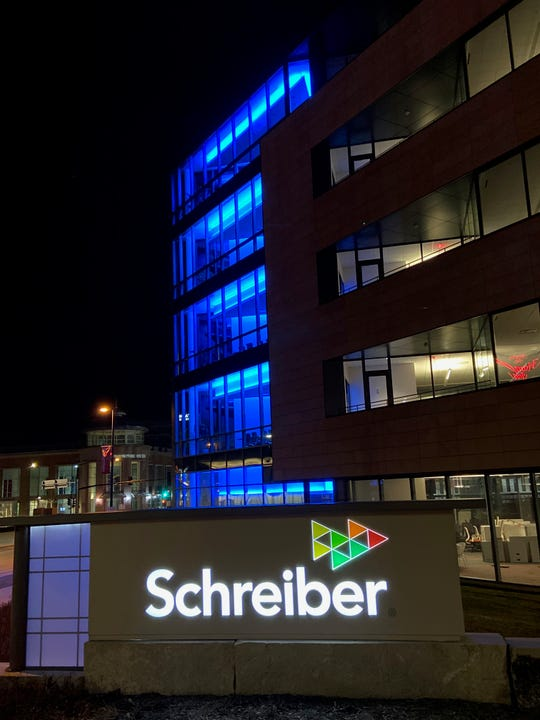 Schreiber is lit up in blue as a show of support for healthcare workers during the coronavirus pandemic.