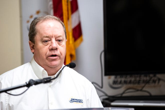 Dave Wilson, Johnson County Emergency Management Director, speaks during a press conference on the novel coronavirus, COVID-19, Friday, April 3, 2020, at the Johnson County Emergency Operations Center in Iowa City, Iowa.