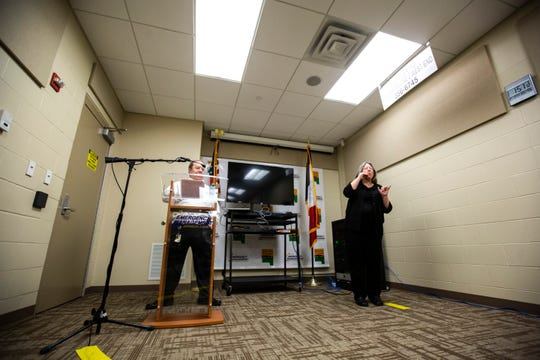 Dave Wilson, Johnson County Emergency Management Director, (left) speaks during a press conference on the novel coronavirus, COVID-19, Friday, April 3, 2020, at the Johnson County Emergency Operations Center in Iowa City, Iowa.