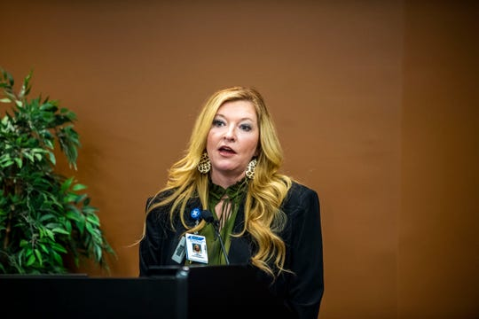 Chief Compliance Officer Amy Garner shares information to the public about new updates on the novel coronavirus, Monday, March 23, 2020 in Jackson, Tenn., at Jackson- Madison County Regional Health Department as well as other local leaders on behalf of their plans for the city and county.