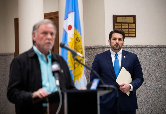Jackson Mayor Scott Conger and Madison County Mayor Jimmy Harris issue a stay at home order, Friday April 3, 2020 in Jackson, Tenn., at the City court house. This order is to restrict large gatherings, and suspending evictions.