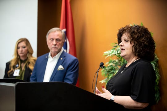 Regional Director Kim Tedford shares information to the public about new updates on the novel coronavirus, Monday, March 23, 2020 in Jackson, Tenn., at Jackson- Madison County Regional Health Department as well as other local leaders on behalf of their plans for the city and county.