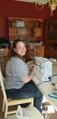 Karns resident Sandra Sacco is making homemade masks from her dining room table Wednesday, March 26.