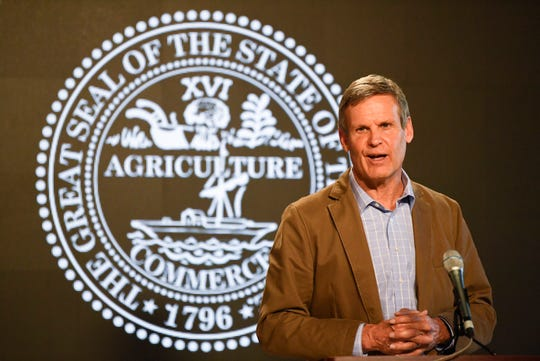 Gov. Bill Lee gives a press conference at the Ray & Lucy Hand Digital Studio on University of Tennessee's campus in Knoxville, Friday, April 3, 2020.