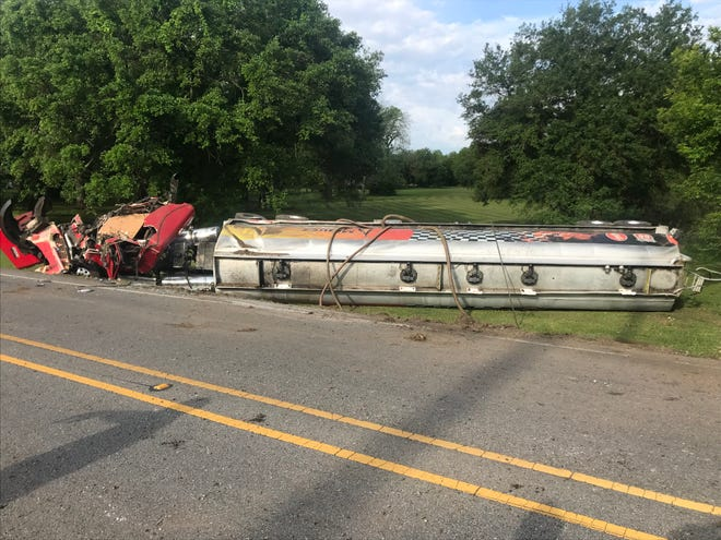 A tanker truck has overturned on Surrey Street.