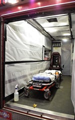 The Lancaster Fire Department's Medic 5 has been prepared as the department's coronavirus response unit. The back has been lined with plastic to make cleaning between patients easier, and any unnecessary medical supplies have been removed. Assistant Chief KJ Watts said the unit will be used to transport people showing coronavirus symptoms that need medical attention without other life-threatening injuries. The unit will help reduce exposure for the regular medic units while maintaining service to Lancaster residents.