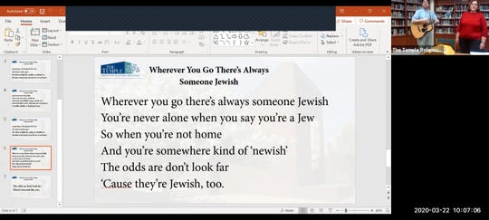 A slide from one of The Temple's recent online services shows lyrics to a song.