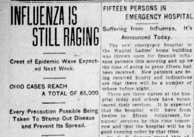Page 2 of the Oct. 16, 1918 Marion Daily Star highlighted the reach of the flu epidemic.