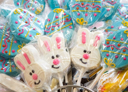 Dinstuhl's Fine Candies shelves are filled with several sizes of hand-molded chocolate bunnies and other sweet treats in Memphis, Tenn., on Friday, April 3, 2020. Dinstuhi's offers curbside pickup and delivery in response to COVID-19.