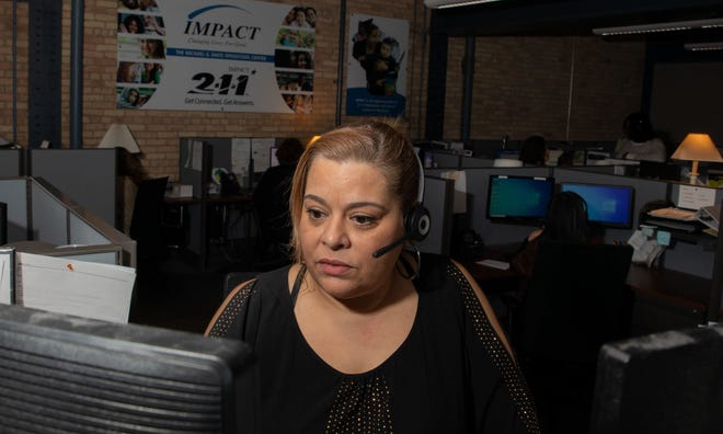 Anna Aldhari works for Impact Inc.,a nonprofit organization thatruns the 211 hotline.