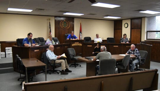 The Mountain Home City Council voted unanimously Thursday night to not go forward with a planned May 12 special sales tax election in light of the recent COVID-19 outbreak. Council members practiced social distancing at the meeting, trying to stay 6 feet away from one another.