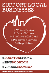 "Flyer advertising Boonton Main Street ""Virtual First Friday"" event on April 3, 2020."