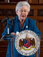 Governor Kay Ivey announces that she is putting the State of Alabama under a shelter in place order during a briefing at the state capitol building in Montgomery, Ala., on Friday afternoon April 3, 2020.