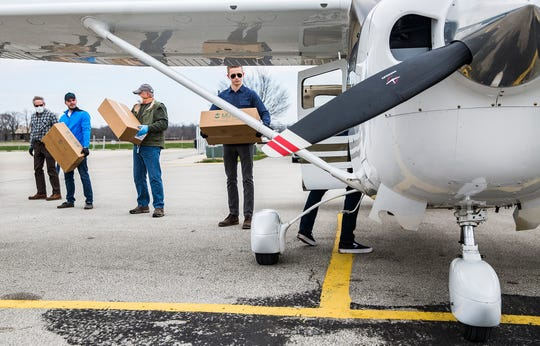 A group of furloughed pilots landed single engine planes at the Delaware County Airport Friday to deliver 10,000 face shields to Beaumont Health System in Michigan. The face shields are the product of Mursix, a Yorktown based manufacturing company that changed its production to provide face masks amid the severe shortage created by the coronavirus pandemic.