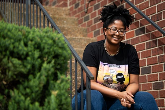 Brigette Jones, director of African American studies at Belle Meade Plantation Museum, poses for a portrait at her home in Antioch, Tenn., Friday, April 3, 2020.