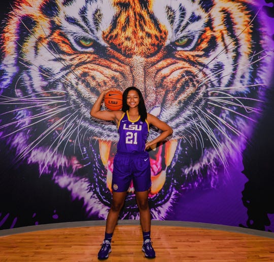 Brentwood Academy center Savannah Dews during a visit to LSU in February 2020. Dews committed to the Tigers this week.