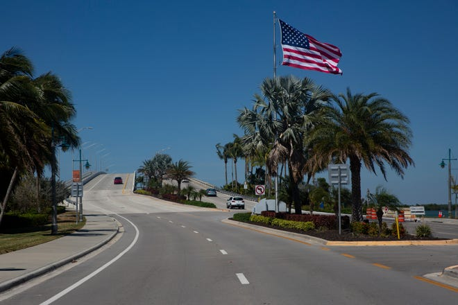 Light traffic over the S.S. Jolley Bridge is pictured on Wednesday, April 1, 2020, in Marco Island.