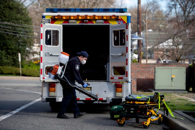 Teaneck Volunteer Ambulance CorpsCaptain Jacob Finkelstein disinfects an ambulance and equipment on Wednesday, April 1, 2020. Teaneck is a coronavirus hotspot and TVAC, which relies completely on donations to operate, has seen a drastic rise in call volume and the cost of personal protective equipment.