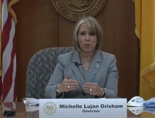 Gov. Michelle Lujan Grisham opens a livestreamed news conference in Santa Fe on Friday, April 3, 2020.
