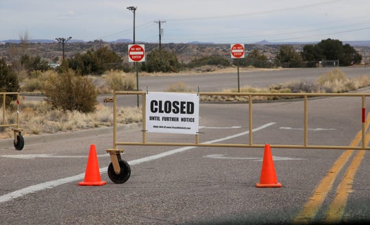 Piñon Hills Golf Course in Farmington, the main entrance pictured here on Wednesday, April 1, 2020, remains closed amid the COVID-19 pandemic.