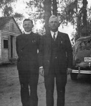 Father Verbis Lafleur pictured on Pecan Island, La., with his father Valentine Lafleur in 1941 just before he left for military service.