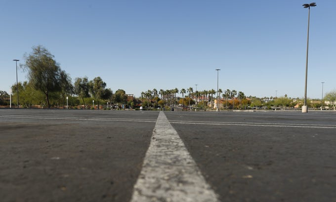 The empty parking lot at the Chandler Fashion Center in Chandler on April 2, 2020.