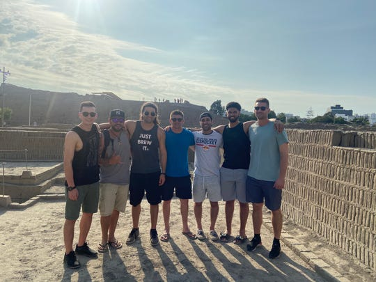Members of the Los Chivos baseball team visited Huaca Pucllana pyramid in Lima, Peru on March 8. From left: Sean Calligari, Marcel Vengoa, Bryan Ruby, Ryan Hooper, Nick Miceli, Harry Thomas III and Evan Brizentine.