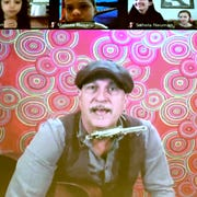 Steven Courtney, a Lancaster musician, is shown during his virtual concert Friday, April 3, 2020, during a showing at at a showing of the concert at Valley View Elementary School. Principal Todd Monos invited media to see the concert at the school. Students watched the concert via the video conferencing platform Zoom. Bill Kalina photo