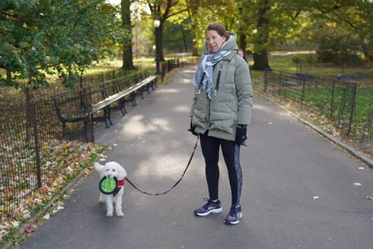 Dog walking is the only activity that Manhattan resident Andrea Rogan will exit her apartment for during coronavirus shut down.