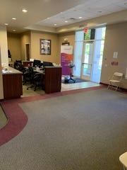 The lobby of Vitalant blood bank in Redding is empty, as donors are kept apart and their appointments spaced throughout the day.
