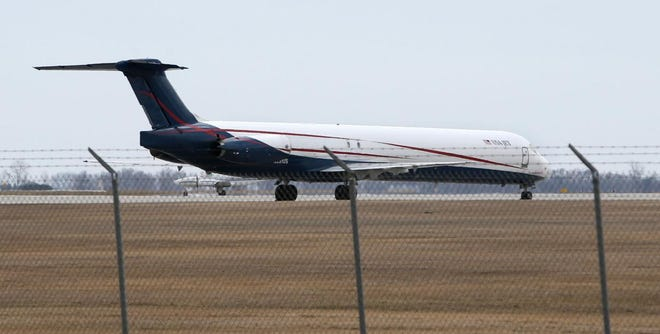 This MD-83 transport jet was on the tarmac at Aberdeen Regional Airport on Wednesday. It and other large jets are hauling N95 respirator masks made at the 3M plan in Aberdeen.