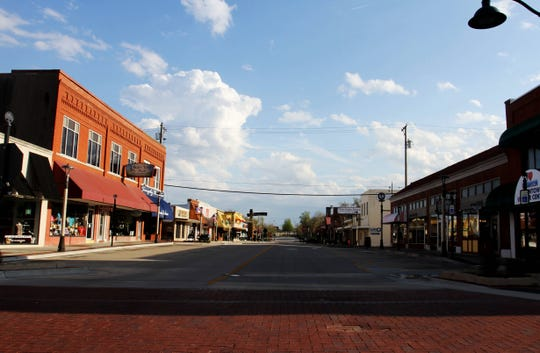 The streets are empty in downtown Branson Thursday, April 2, 2020.