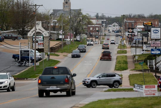 Traffic along South Springfield Avenue, a main thoroughfare in Bolivar, on Friday. Traffic has significantly decreased in recent weeks, according to Bolivar resident Randy Steward.