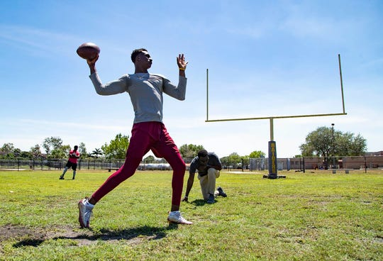 Florida State University quarterback James Blackman works out at Glades Central Community High School in Belle Glade, Wednesday, April 1, 2020.
