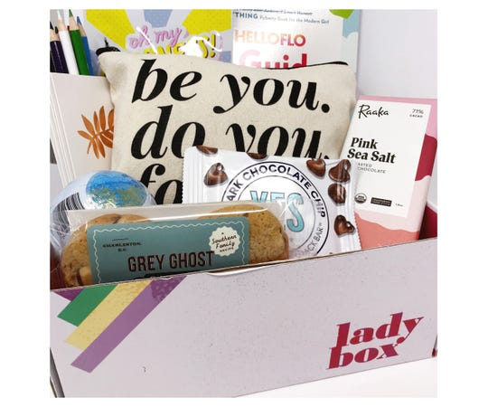 Lady Box, an organic period care and comfort subscription box, offers a Lil' Lady Box first period kit.