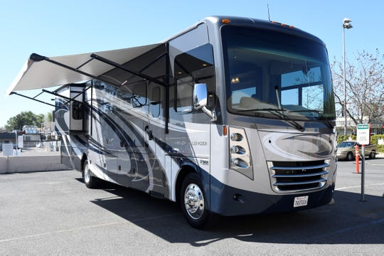 """RV Country provided this RV to Kaweah Delta Medical Center to use as a command center and """"place of respite"""" for Multi-Service Center Testing staff on Thursday, April 2, 2020."""